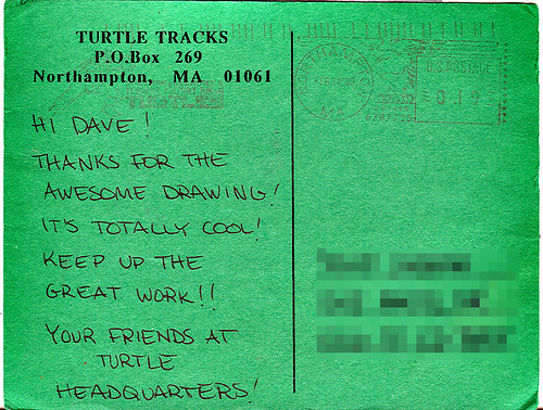 "TMNT Adventures ""Turtle Tracks"" { TMNT A #31 } post card to tOkKa (( 21, February 1993 ))"