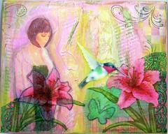 Solemn Garden (createitcottage) Tags: flowers woman art collage paint acrylic hummingbird handmade mixedmedia potrait melange metsy