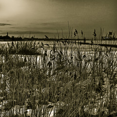 almost spring (Grozz) Tags: sunset bw snow ice canon river landscape blackwhite latvia gross riga imants otw eos5d daugava bej mycameraneverlies