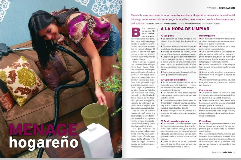 Mujer única. vivir Bien Deco. Menage Hogareño.Jugenme Rodríguez. pág.91,Feb09