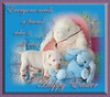 8. White Puppy Dog Kahuna Luna & Bunny Friends with Easter Holiday Greetings