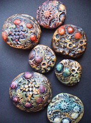 Armor - beads / pendants (gabriel studios) Tags: red green texture purple handmade teal jewelry clay bead etsy pendants polymer gabrielstudios michelegabrielstudios paiinted