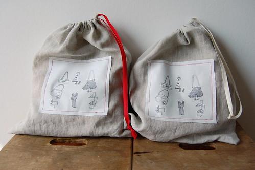 Drawstring twin bags