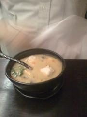his soup