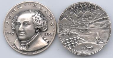 John Adams Alaska Statehood silver medal