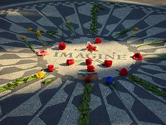 One word (Pushing_Pixels) Tags: park nyc newyorkcity flowers shadow roses newyork flower john catchycolors hope memorial centralpark manhattan mosaic honor tiles memory imagine beatles lennon johnlennon bigapple