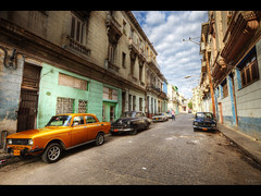 The orange car (Kaj Bjurman) Tags: street summer orange classic cars architecture canon eos havana cuba american 5d hdr kaj markii photomatix bjurman