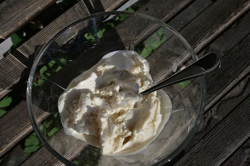 Soy-based yoghurt-vanilla icecream