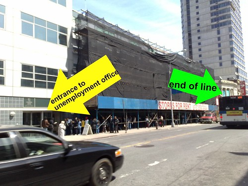 look at the unemployment line in brooklyn at 12pm - I have NEVER seen it this long before!