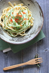 fettucine with zucchini and tobiko (bananagranola (busy)) Tags: cooking japan lunch japanese pasta homemade meal zucchini fusion tobiko fettucine