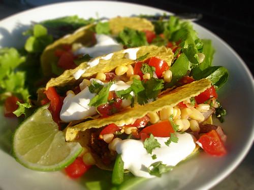 Chorizo Taco Salad with Corn Salsa