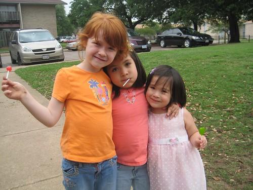 All of the neighbor children were happy to see Serene back.  Heres Abigail celebrating Serenes return.
