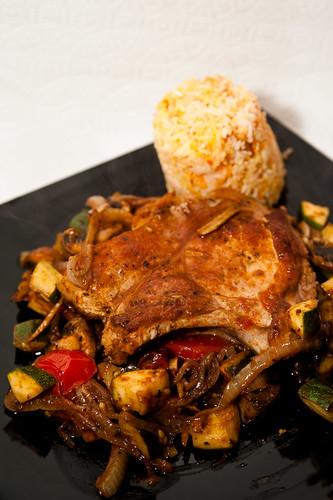 Pork Chops on Mediterranean Veg with Saffron Rice