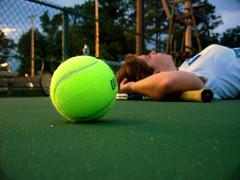 98/365 tennis, anyone? (sodapop curtis) Tags: selfportrait green court evening depthoffield tennis penn resting 365 tennisball racquet day98 themeoftheweek project365 365days 10secondtimer totw