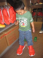 Owen trying on Puma shoes