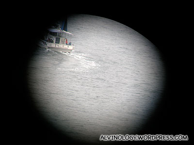 We spotted a ship through the telescope