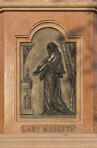 Tower Grove Park, in Saint Louis, Missouri, USA - bas-relief of Lady Macbeth on statue of William Shakespeare