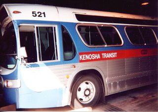 Kenosha Transit 1975 GMC bus inside the garage. Kenosha Wisconsin. Saturday, April 29th 2000.