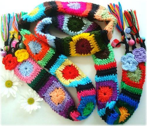 De colores, cachecol de crochê
