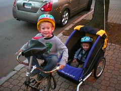 Max on his special seat, and Reuben in the trailer