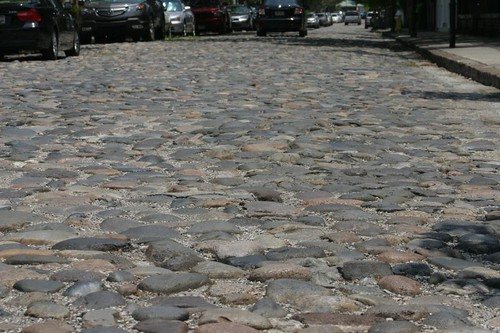 Cobble-stoned street in Charleston's French Quarter...