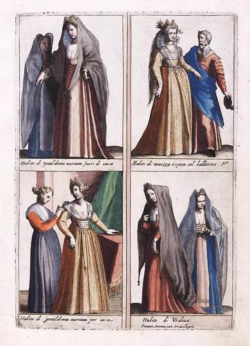 014-Vestimentas de mujeres de Venecia-Habiti d'hvomeni et donne venetiane 1609