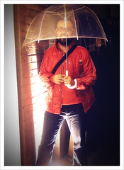 "52 Weeks of ""The One I Love"" (13): The Umbrella King (Sion+Anton) Tags: portrait rain cutie iphone redjacket seethroughumbrella sionfullana antonkawasaki gaybeardedmale 52weeksoftheoneilove13 theumbrellaking"
