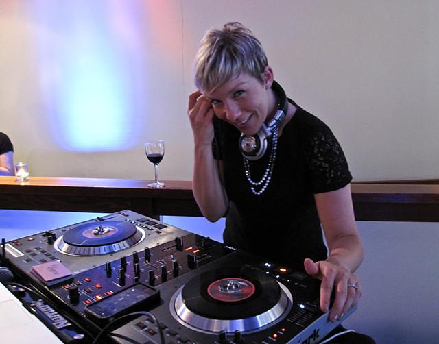 DJ Leanne spinning tunes