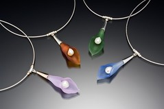 Color Calla Lily Necklaces by Eloise Cotton (glassvelina) Tags: bells calla cotton lilies eloise blass lampworked