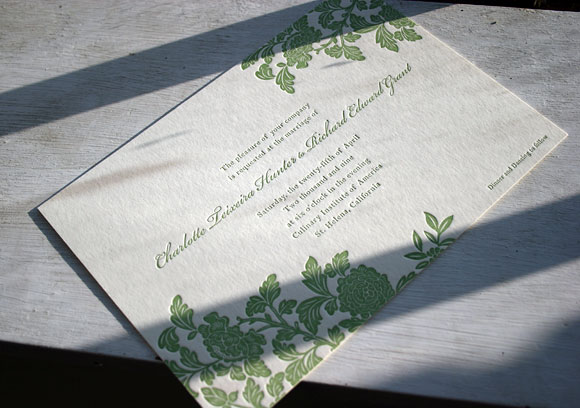 Rhon 1 color letterpress wedding invitations - by Smock