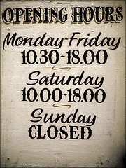 Opening hours (Black X List) Tags: closed open sunday saturday opening hours bxl mondayfriday