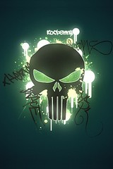 Black skull iphone wallpaper green background