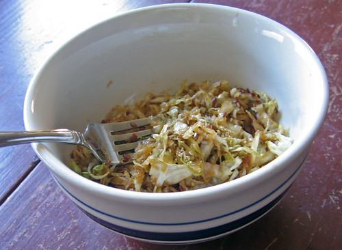 spicy sesame cabbage for dinner