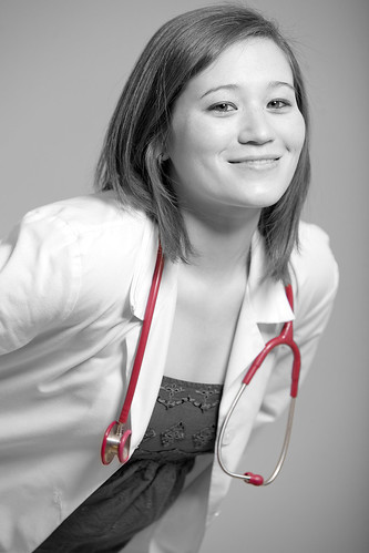 portrait bw woman brown white cute art girl beautiful beauty smile face female pose happy photo student model lab photoshoot image modeling coat stock creative longhair free commons medical doctor license nurse labcoat walt nursing stethoscope spotcolor wls stoneburner mabis waltstoneburner