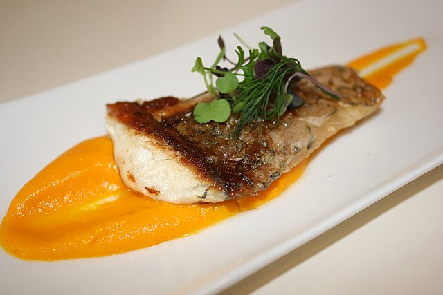 Pan-fried seabass with pumpkin puree