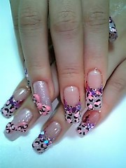 ★Pink Leopard Nails with bows★ (Pinky Anela) Tags: pink hot cute pinky nails leopard bow nailart japanesenails