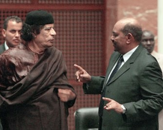 Libyan leader and African Union Chairman, Muammar Gaddafi, hosts President Omar Hassan al-Bashir of Sudan. There are reports that US jets bombed areas in Sudan during January and February of 2009. Sudan has defied the ICC warrant issued against al-Bashir. by Pan-African News Wire File Photos