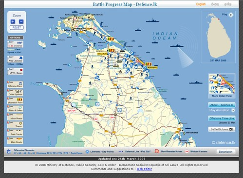 Interactive map created by the Sri Lanka Ministry of Defence