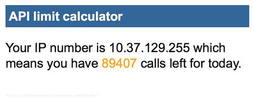 API limit calculator