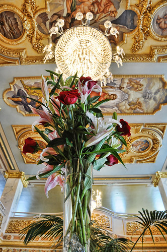 Flowers under the chandelier