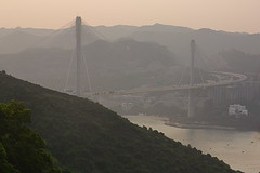 Ting Kau Bridge in the Haze (Feliz Navidad) Tags: hongkong tsingyi tingkaubridge
