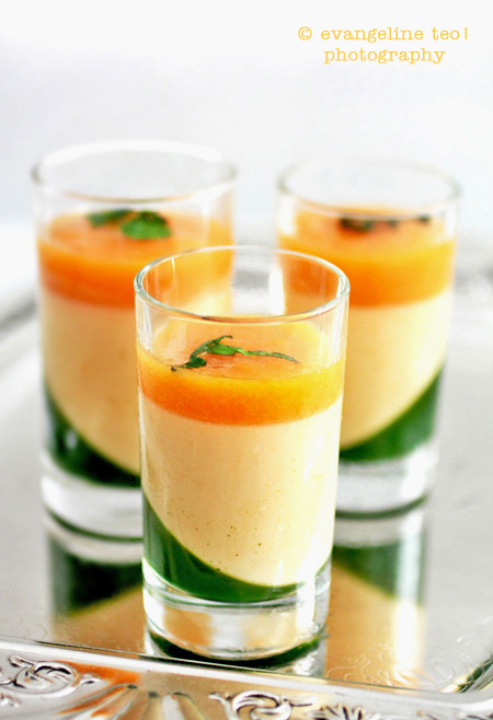 Apricot Panna Cotta With Mint Gelée & Apricot Sauce