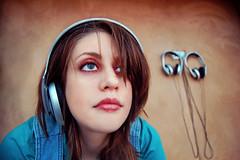 (MischievousRagDoll) Tags: she urban face look aqua feel minneapolis headphones ponder suede walkerartcenter listen