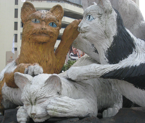 Cat statues in Kuching