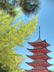 Pagoda HDR (GoGoJingo) Tags: blue sky green japan pagoda spring hiroshima miyajima hdr zuikodigital1454mmf2835 olympuse510