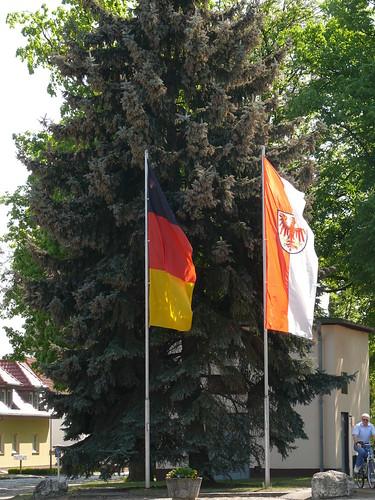 Flaggen vor der Festtanne