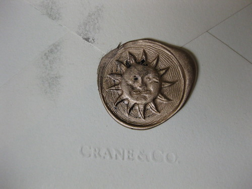 Wax seal: gold sun on Crane
