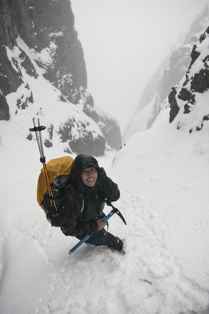 Mt. Arrowsmith Snow Gully - Climbing in a freak snowstorm in May-2