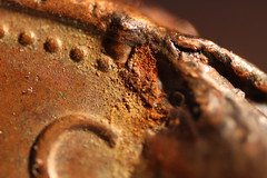 Copper Corrosion (Ross Harper) Tags: two macro closeup coin copper sterling 2p tuppence corrosion pence reverselens