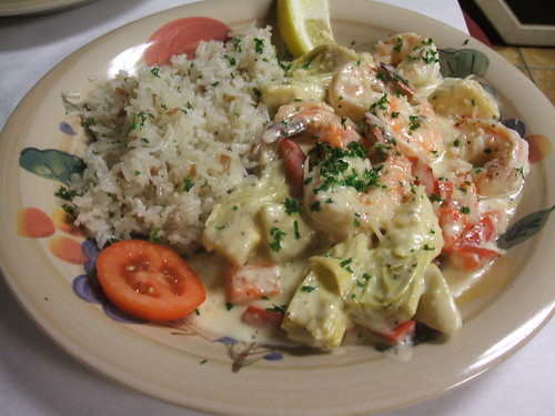 Shrimp and artichoke in cream sauce